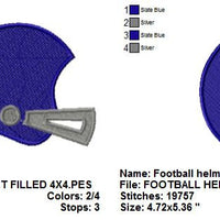 Football Helmet Filled Sports Machine Embroidery Design - Embroidery Designs By AVI