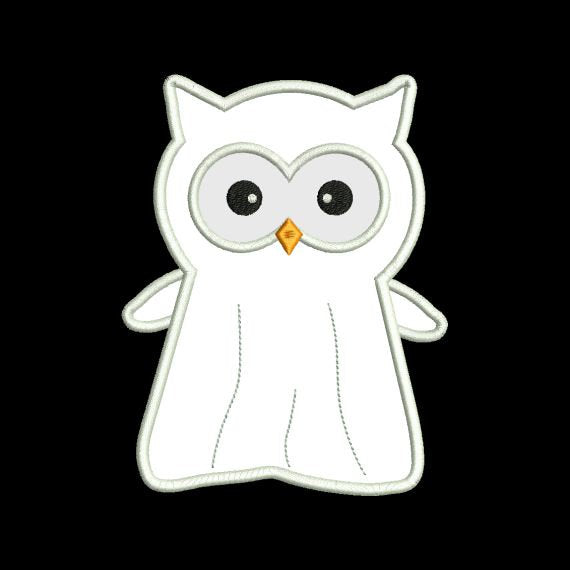 Applique Halloween Owl Ghost Machine Embroidery Design - Embroidery Designs By AVI