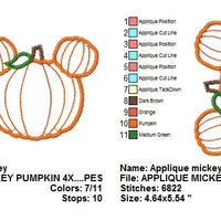 Applique Mickey Mouse Pumpkin II Machine Embroidery Design Font Frame - Embroidery Designs By AVI