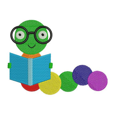 Book Worm School Fall Teacher Embroidery Design - Embroidery Designs By AVI