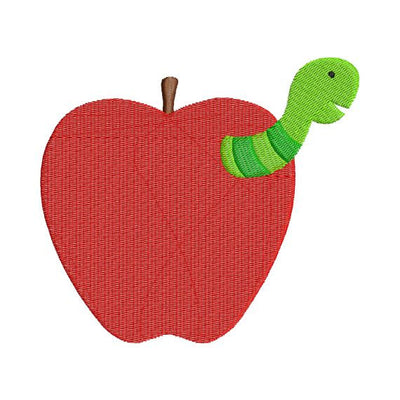Worm in Apple School Fall Teacher Embroidery Design - Embroidery Designs By AVI