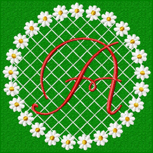 Daisy Lace Flower Circle Single 1 Inital Letter Monogram Fonts Set - Embroidery Designs By AVI
