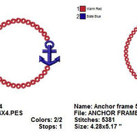 Anchor Nautical Monogram Font Frame Machine Embroidery Design - Embroidery Designs By AVI