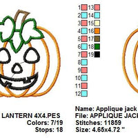 Applique Jack O Lantern Pumpkin Halloween Embroidery Design - Embroidery Designs By AVI