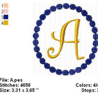 Oval Dots Curlz Single 1 Inital Letter Applique Embroidery Monogram Font Design Set - Embroidery Designs By AVI