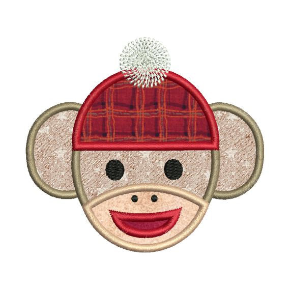 Sock Monkey Face Applique Embroidery Design - Embroidery Designs By AVI