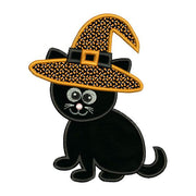 Applique Halloween Cat Witch Hat Embroidery Design - Embroidery Designs By AVI