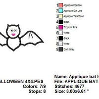 Halloween Bat Applique Machine Embroidery Design Pattern - Embroidery Designs By AVI