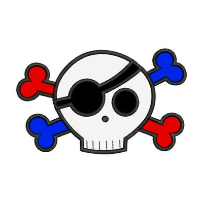 Boy Skull n Bones Halloween Applique Machine Embroidery Design - Embroidery Designs By AVI