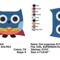 Owl Superhero Superman Super Man Halloween Machine Embroidery Design - Embroidery Designs By AVI