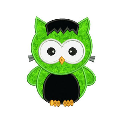 Applique Halloween Owl Frankenstein Machine Embroidery Design - Embroidery Designs By AVI