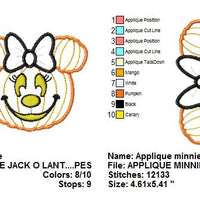 Applique Minnie Mouse Pumpkin Jack o Lantern Machine Embroidery Design - Embroidery Designs By AVI