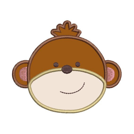 Applique Monkey Face II Jungle Machine Embroidery Design - Embroidery Designs By AVI