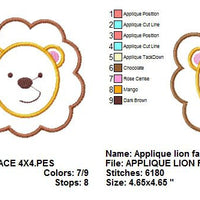 Applique Lion Face Jungle Machine Embroidery Design - Embroidery Designs By AVI