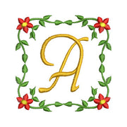 Flower Vine Monogram Fonts Alphabet Machine Embroidery Designs Set - Embroidery Designs By AVI