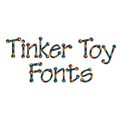 Tinker Toy Child Alphabet Monogram Fonts and Numbers Machine Embroidery Designs Set - 3 Sizes Included - Embroidery Designs By AVI