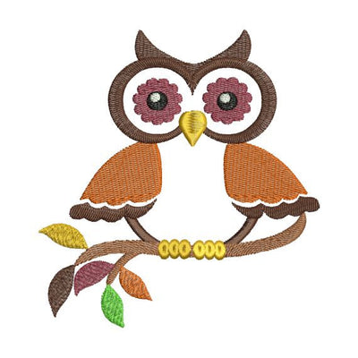 Owl on Branch II Fall Autumn Thanksgiving Colors Machine Embroidery Design - Embroidery Designs By AVI