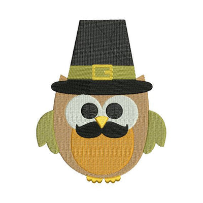 Owl Boy Mustache Pilgrim Fall Autumn Thanksgiving Harvest Machine Embroidery Design - Embroidery Designs By AVI