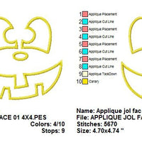 Applique Jack O Lantern Pumpkin Happy Face Halloween Embroidery Design - Embroidery Designs By AVI