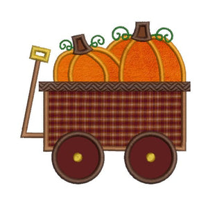 Pumpkin Wagon Autumn Thanksgiving Halloween Applique Embroidery Design - Embroidery Designs By AVI