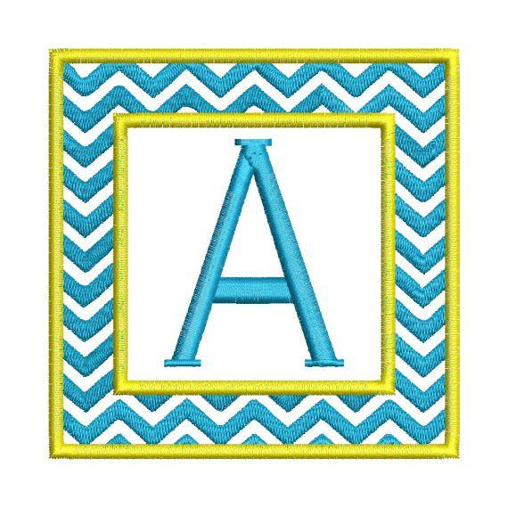 Chevron Square Single 1 Inital Letter Monogram Fonts Machine Embroidery Design Set - Embroidery Designs By AVI
