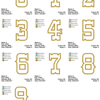 Western Cowboy Rope Number Applique Embroidery Design Font Set - Embroidery Designs By AVI