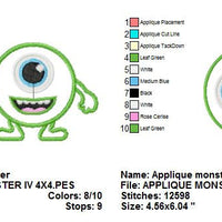 Applique Happy Halloween Monster Cyclops IV Applique Machine Embroidery Design - Embroidery Designs By AVI