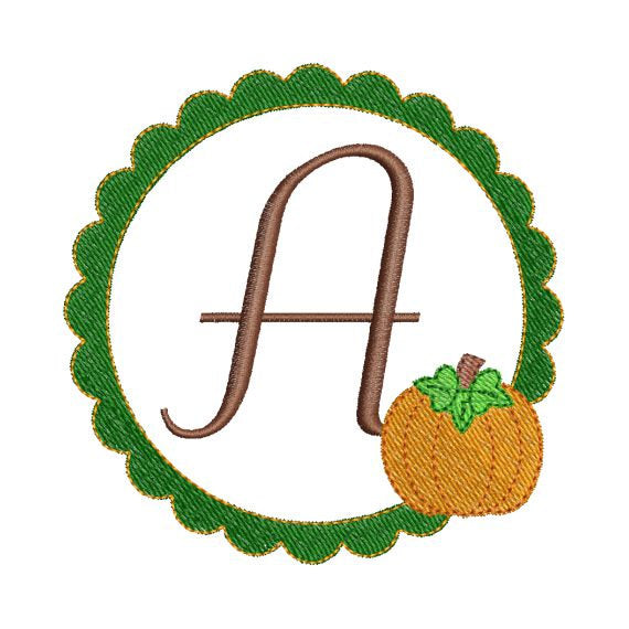 Pumpkin Scallop Frame Monogram Machine Embroidery Fonts Alphabet Set - Embroidery Designs By AVI