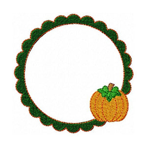 Pumpkin Scallop Frame Monogram Font Machine Embroidery Design - Embroidery Designs By AVI