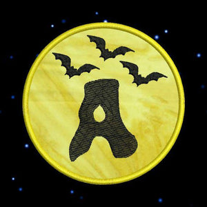 Applique Halloween Moon Bats Monogram Fonts Machine Embroidery Design Set - Embroidery Designs By AVI