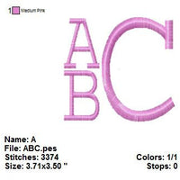 Square Satin 3 Three Letter Machine Embroidery Monogram Fonts Designs Set - Embroidery Designs By AVI