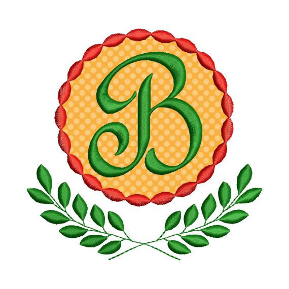 Applique Laurel Wreath Leaves Single 1 Inital Letter Monogram Font Set - Embroidery Designs By AVI
