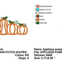 Pumpkin Patch Group Fall Autumn Thanksgiving Halloween Applique Machine Embroidery Design - Embroidery Designs By AVI