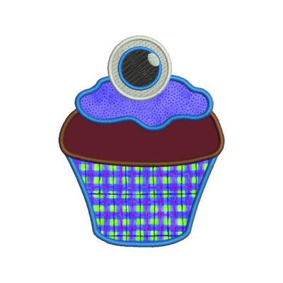Cupcake Birthday Halloween Monster Eyeball Applique Machine Embroidery Design - Embroidery Designs By AVI