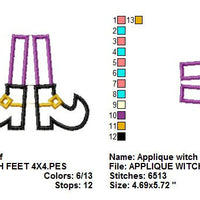 Applique Witch Feet Boots Shoes Halloween Machine Embroidery Design - Embroidery Designs By AVI