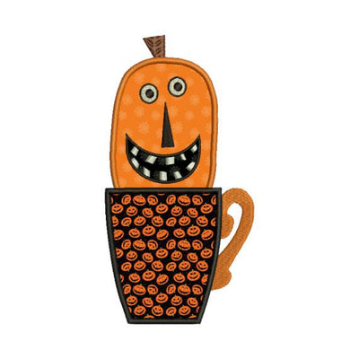 Applique Jack O Lanern Pumpkin Coffee Cup Halloween Machine Embroidery Design - Embroidery Designs By AVI