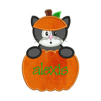 Applique Halloween Cat Pumpkin Machine Embroidery Design Nice for Monogram Font Frame - Embroidery Designs By AVI