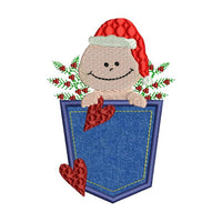 Christmas Pocket Baby Santa Applique Embroidery Design