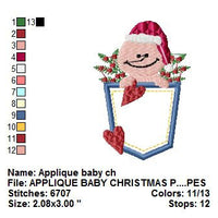 Christmas Baby Santa in Pocket Applique Machine Embroidery Design - Embroidery Designs By AVI