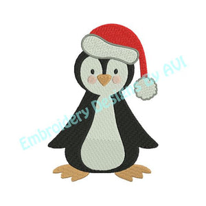 Christmas Penguin II Machine Embroidery Design - Embroidery Designs By AVI