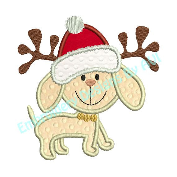 Christmas Puppy Dog Reindeer Applique Machine Embroidery Design Embroidery Designs By Avi