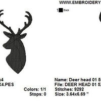 Deer Head Buck Antlers Silhouette Shadow Machine Embroidery Design - Embroidery Designs By AVI
