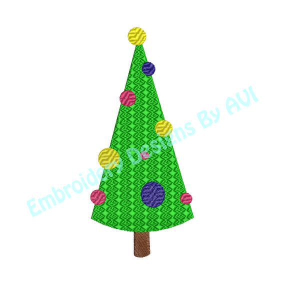 Christmas Tree I Fancy Fill Machine Embroidery Design - Embroidery Designs By AVI