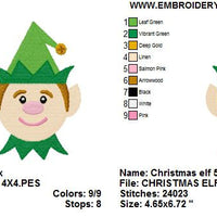 Christmas Elf Face Machine Embroidery Design - Embroidery Designs By AVI