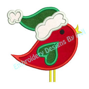 Applique Christmas Bird Santa Hat Embroidery Design - Embroidery Designs By AVI