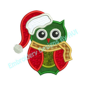 Christmas Owl Bird Santa Hat Applique Machine Embroidery Design - Embroidery Designs By AVI