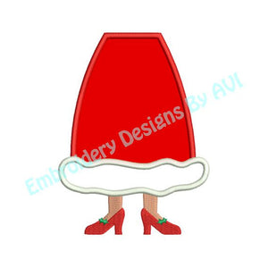 Applique Mrs. Santa Claus Feet Christmas Embroidery Design - Embroidery Designs By AVI