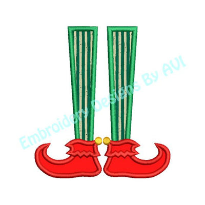 Applique Elf Feet Christmas Embroidery Design - Embroidery Designs By AVI