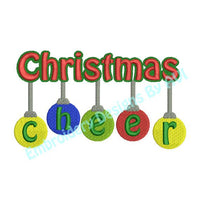 Christmas Balls Cheer Saying Word Art Machine Embroidery Design - Embroidery Designs By AVI