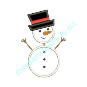 Applique Stick Snowman Snow Man Christmas Machine Embroidery Design - Embroidery Designs By AVI